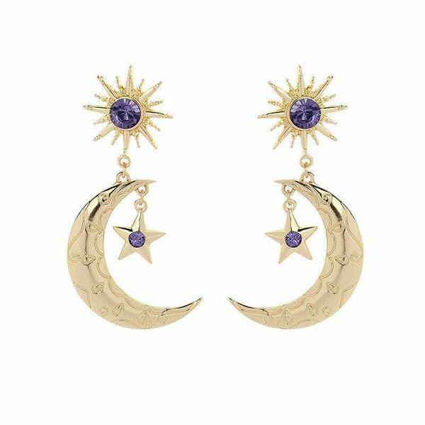 Lance Star Blue Moon Big Gold Women Elegant Fashion Earrings Drop Crystal Dangle