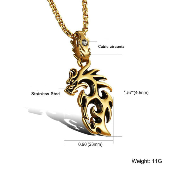 Lance Men Jewelry Titanium Steel hollow out fire Dragon Pendant Necklace