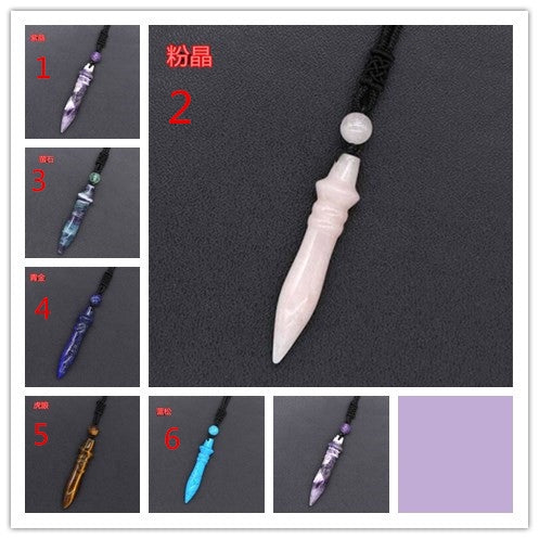 Lance Natural Crystal Quartz Amethyst Fluorite Stone Pharaoh Scepter Pendant Necklace