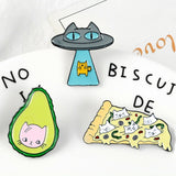 Lance Creative Cute Yellow Cat Avocado Pizza Cat Enamel Brooch Badge Lapel Pins Gifts