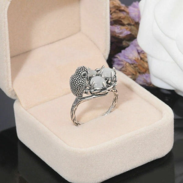 Lance Vintage 925 Silver Moonstone Bird Ring Men Women Wedding Jewelry Gift Size 6-10