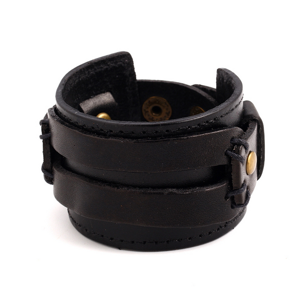 Lance wholesale Punk style wide knitted retro leather bangle bracelet