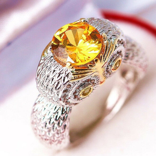 Lance Prom Ring Men Women Zircon Owl1.5ct Citrine Size6-10 Fashion Wedding Jewelry