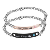Lance his queen her king letter couple bracelet