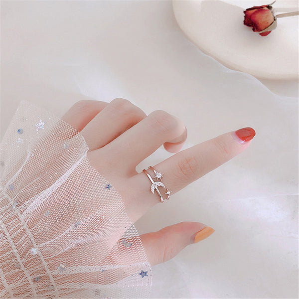 Lance Star Moon Ring Trendy Niche Light Luxury Star Moon Double Twist Multi-layer Opening Index Finger