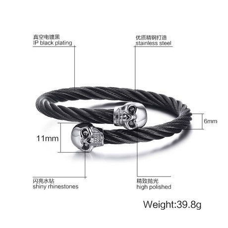 Lance Stainless Steel Person Cranial Head Wei The Bracelet Of Europe And United States Punk Male