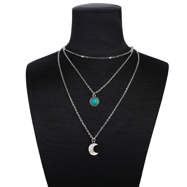 Lance multi-layer antique sweater chain turquoise necklace