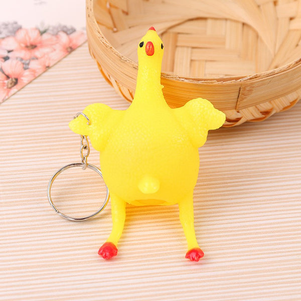 Lance Cute Squeeze Laying Egg Hens Keychain Toy Creative Funny Chicken Keyring Stress Relief