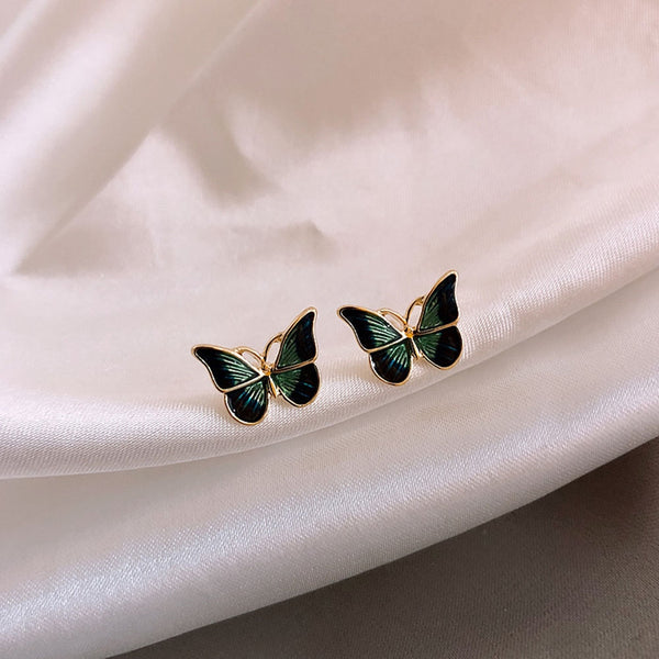 Lance Vintage French Oil Painting Butterfly Feminine All-match Sleep Earrings