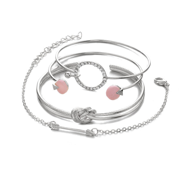 Lance circles diamonds chain 4-pc bangle bracelet