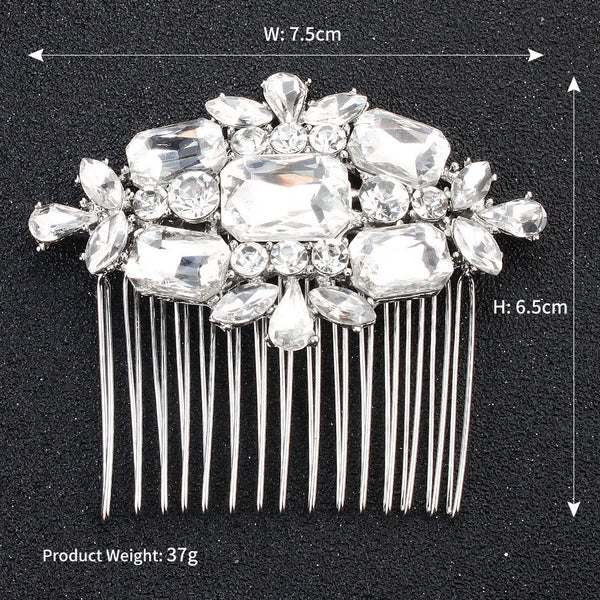 Lance New European And North American Alloy Hair Comb Insert Exquisite Square Glass