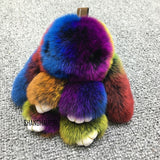 Lance Cute Faux Fur Bunny Fluffy Rabbit Keyring Bag Pendant Keychain Furry Colorful