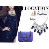 Lance European Blue Crystal Rhinestones Engagement Resin Leaves Necklace Jewelry