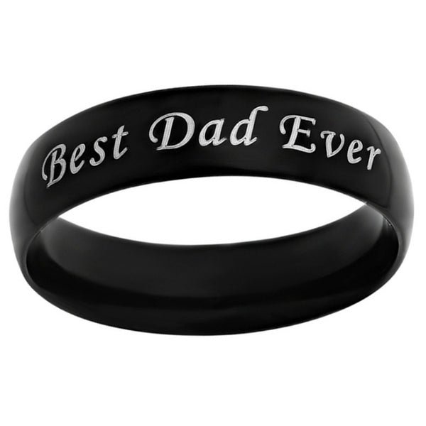 Lance Stainless Steel Jewelry Letter DAD Rings Male Punk Jewelry Vintage Round Rings