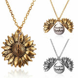 "Lance Fashion ""You Are My Sunshine"" Open Sunflower Pendant Necklace Choker Women Gift"