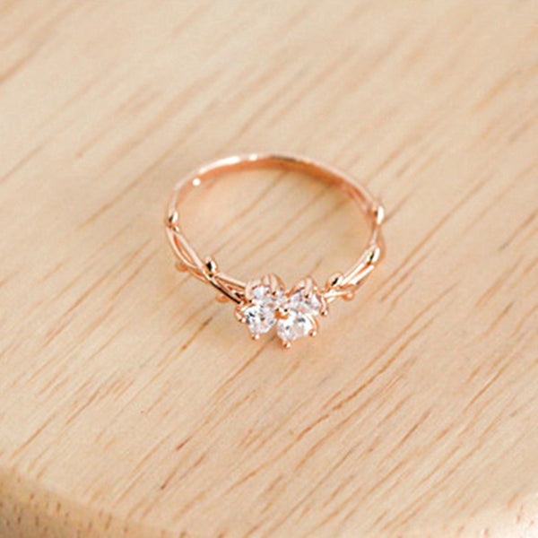 Lance Ready Stock Simple Casual Crystal Clover Zircon Diamant Bague Femmes Fille Accessoires