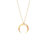 Lance Horn Half Moon Crescent Pendant Necklace