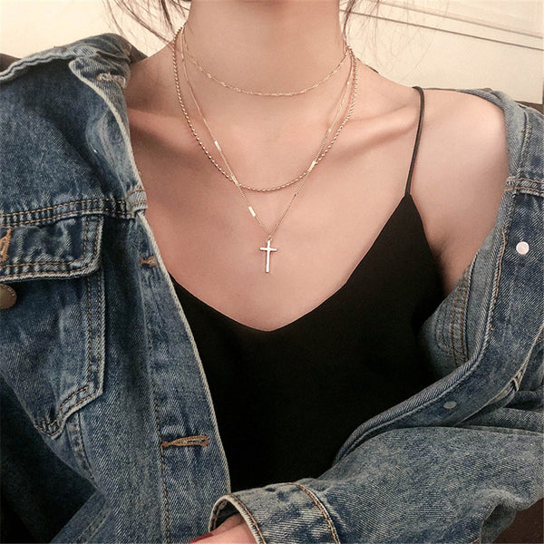 Lance alloy temperament exaggerated punk chocker female multi-layer cross y-type women's sweater necklace