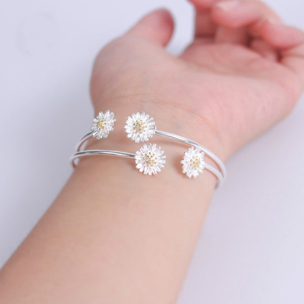 Lance S925 Silver Simple Sunflower Small Daisy Bracelet Bangles