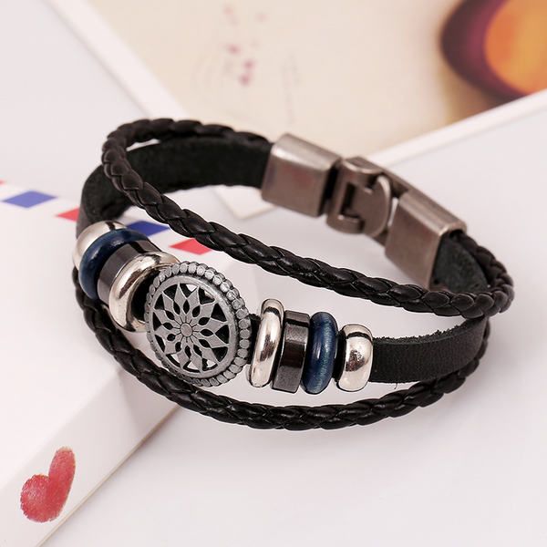 Lance Fashionable Men's Leather Ornaments Weave Leather Bracelets