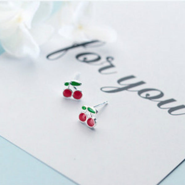 Lance S925 Silver Cherry Stud Earrings Cute Earrings Fashion Jewelry