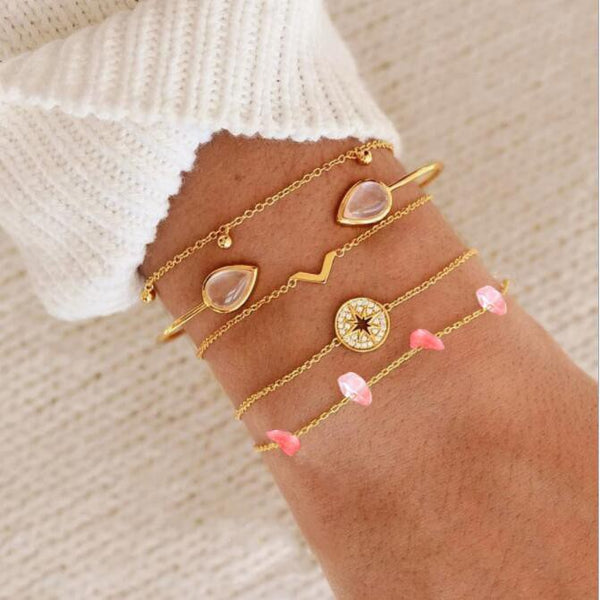 Lance Europe Fashion 5Pcs Set Pink Crystal Stone Multielement Charms Bangles Bracelet