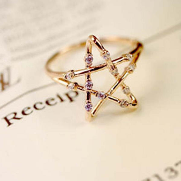 Lance Delicate Pentagram shaped Alloy Ring Wholesale Fashion Jewelry