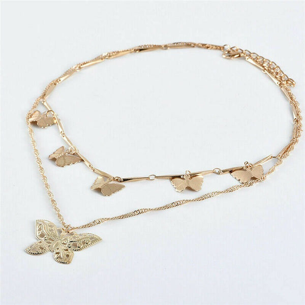 Lance Women Chain Gold Boho Layer Necklace Charm Hollow Butterfly Pendant Choker Multi