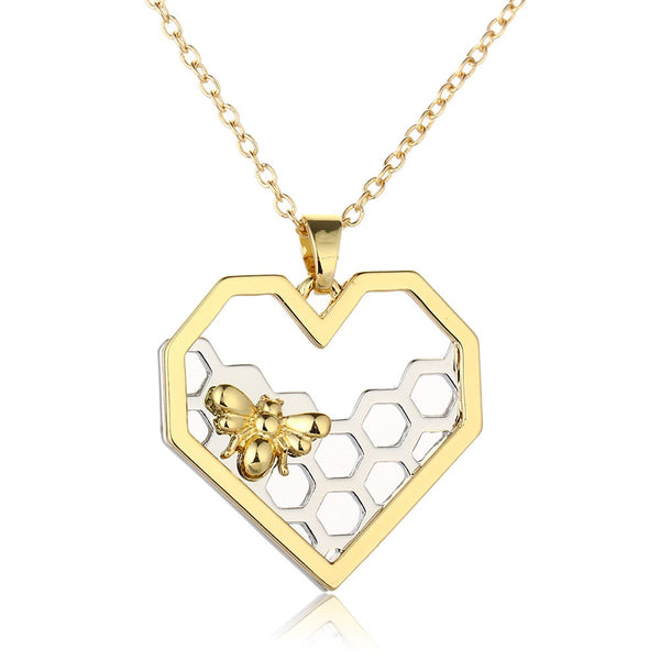 Lance Europe and America Fashionable Explosive Honeycomb Bee Pendant Real Gold Color Preserving Animal Necklace Jewelry