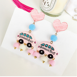 Lance Cute Pink School Bus shaped Earrings Wholesale Fashion Jewelry