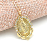 Lance Crystal Rhinestone Virgin Mary Pendant Necklace Retro Accessories