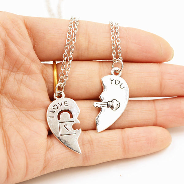 Lance I Love You Key Lock Two Heart-shaped Couple Necklace