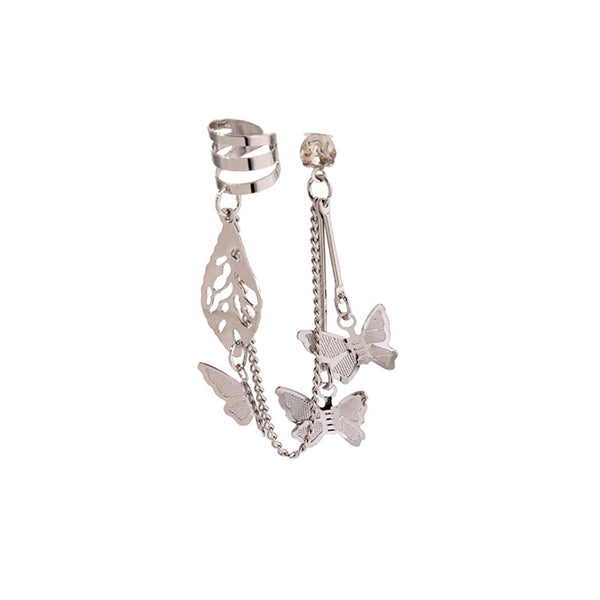 Lance Temperament Wild Tassel Pendant Butterfly Earring Stud Ear Bone Clip Women Jewelry