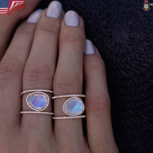 Lance Rose Gold Rainbow Moonstone Solid 925 Sterling Silver Spinner Ring Jewelry