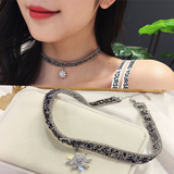 Lance Korea Crystal Snowflake Necklace Collar Short Necklace