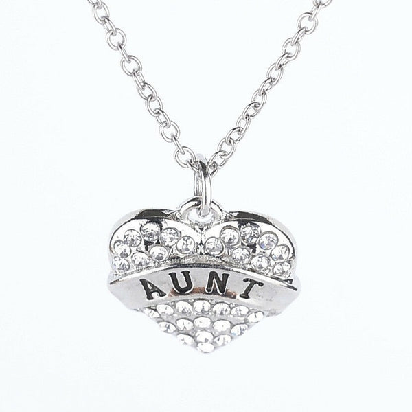 Lance Charm Jewelry Rhinestone Accessory Family Letter Heart Pendant Chains Necklace