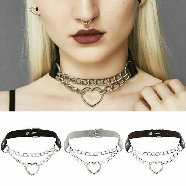 Lance Gothic Heart Chain Jewelry Choker Pendant Punk Buckle Necklace Collar Leather