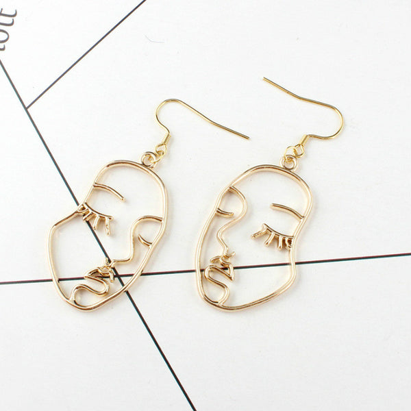 Lance Funny Metal Hollow Face Palm Earrings Abstract Face Earrings
