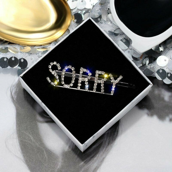 Lance Women Crystal Rhinestone Words Hair Clip Barrette Stick Hairpin Hair Gifts New