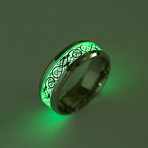 Lance Titanium Steel ring Fluorescence Luminous Dragon Ring