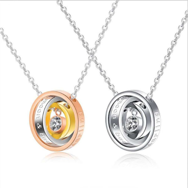 Lance Women Men Titanium Steel Simple Tricolor Ring Pendant Necklace