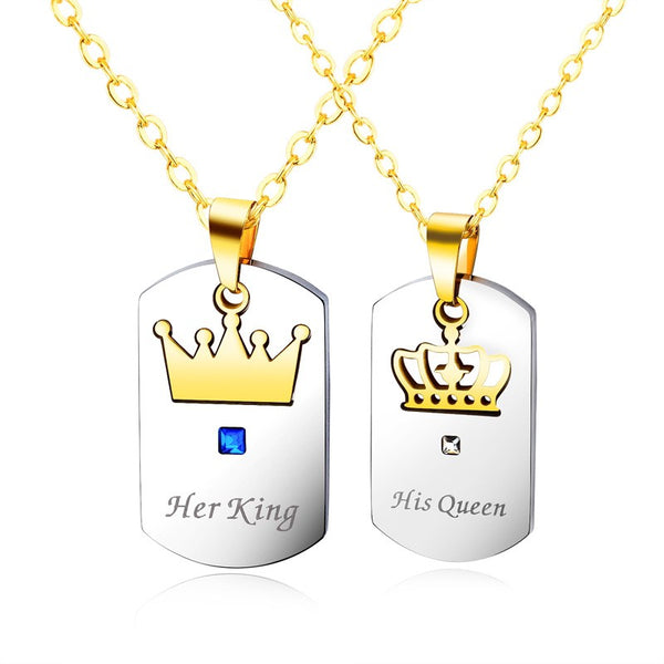 Lance Silver Black Tone His Queen Her King Couple Necklace Stainless steel Pendant