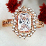 Lance Fashion Women Ring Rose Gold Filled Emerald Cut White Sapphire Ring Size 6-10