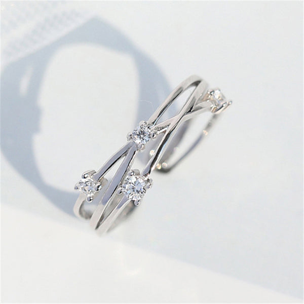 Lance Flash Diamond Star Female Simple Live Mouth Tail Ring Fresh Bright Star River Irregular Wave Line Ring