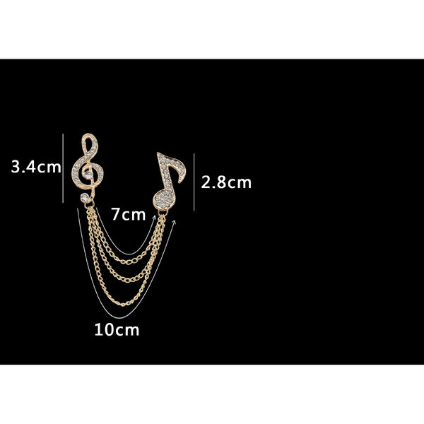 Lance British Style Men's Notes Brooch Tassel Chain Music Brooch Tide Suit Accessories Badge