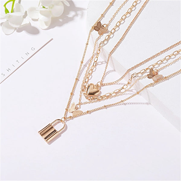 Lance Retro Street Shot Love Lock Multilayer Necklace Female Personality 4 Layers Metal Butterfly Jewelry Chain