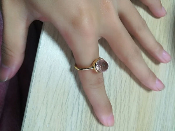 Lance Beautiful 18K Rose Gold Filled Pink Moonstone Ring Engagement Women Jewelry