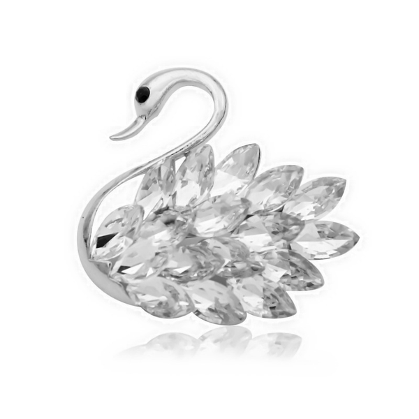 Lance Alloy Elegant Swan Black and White Crystal Lady's Brooch