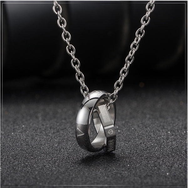 Lance Titanium Steel Square Double Ring Pendant LOVE LIFE Diamond Necklace Fashion Men Jewelry Accessories