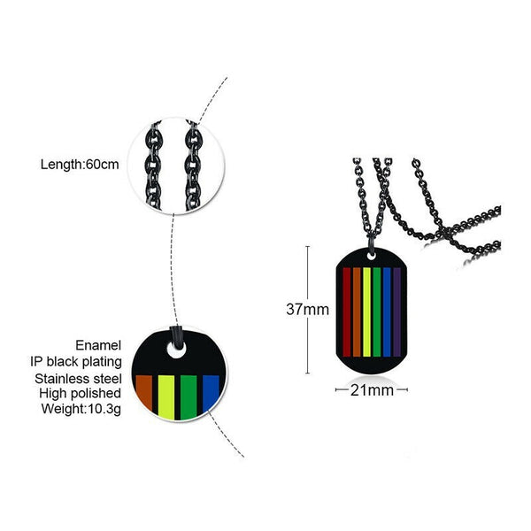 Lance Gay Pride Rainbow Flag Charm Pendant Jewelry Silver Black Necklace